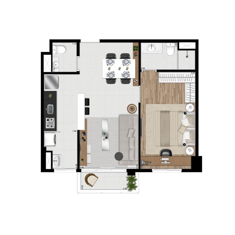 Planta 49m² Wi-House Alphaville