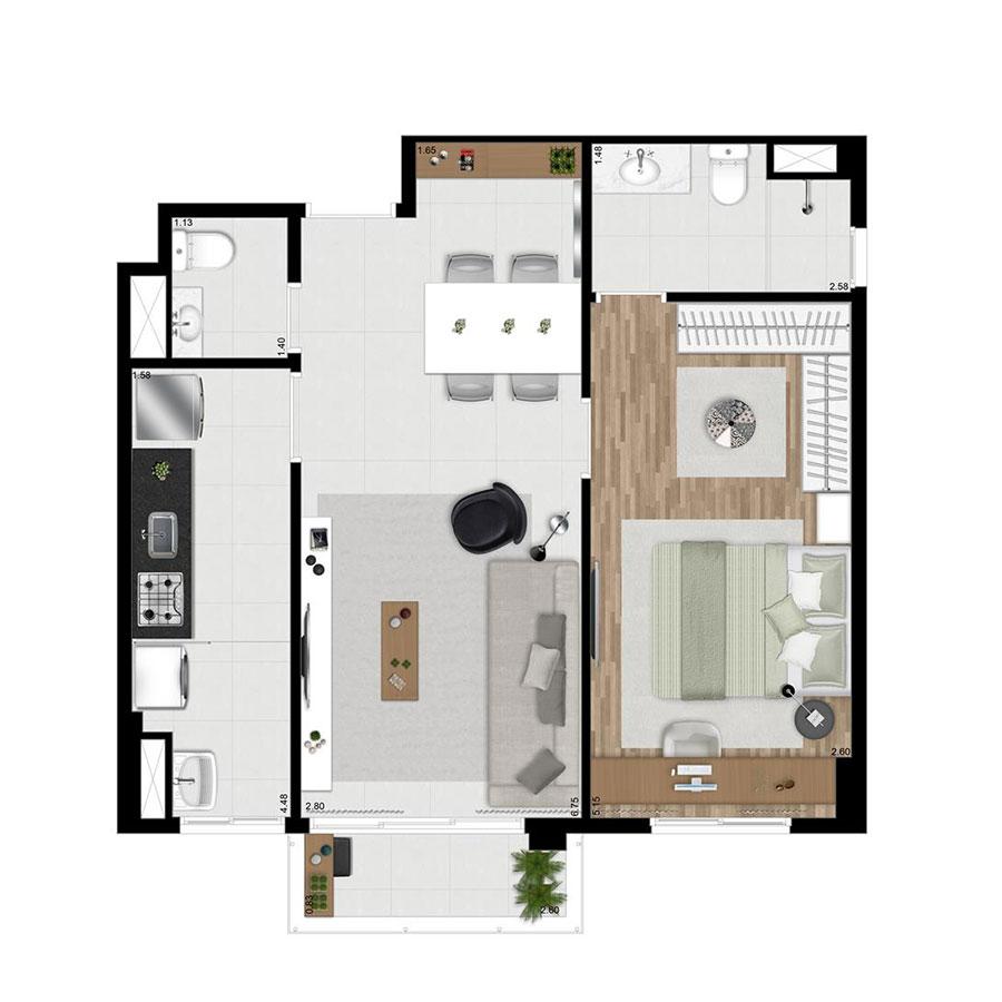 Planta 52m² Wi-House Alphaville