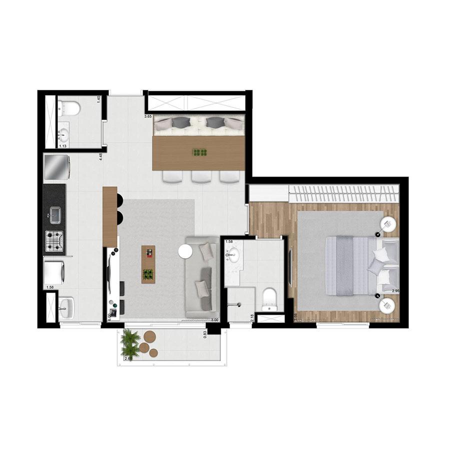 Planta 53m² Wi-House Alphaville