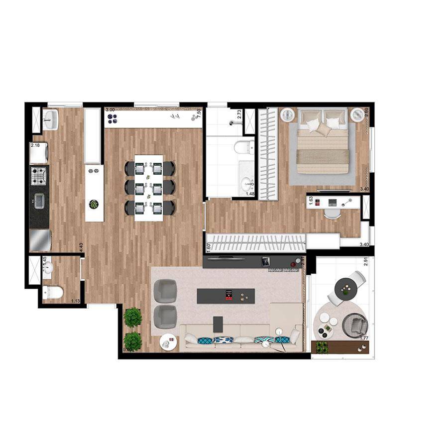Planta 78m² Wi-House Alphaville