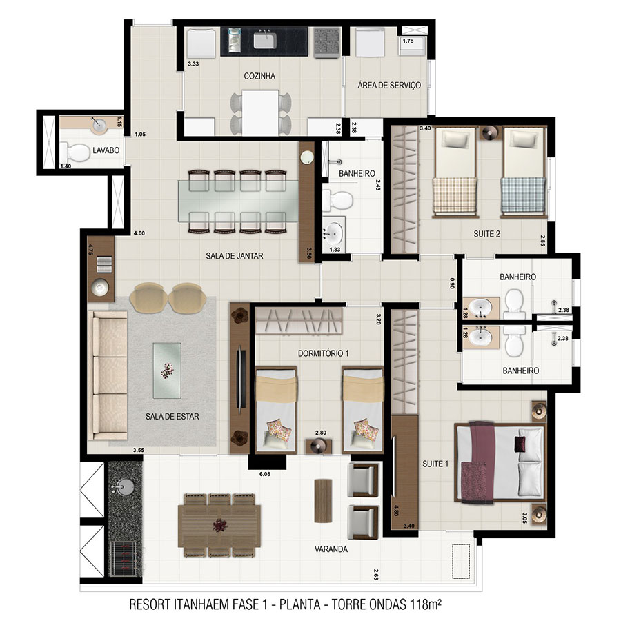 Planta Torre Ondas - 118m² Resort Itanhaém Condomínio Clube