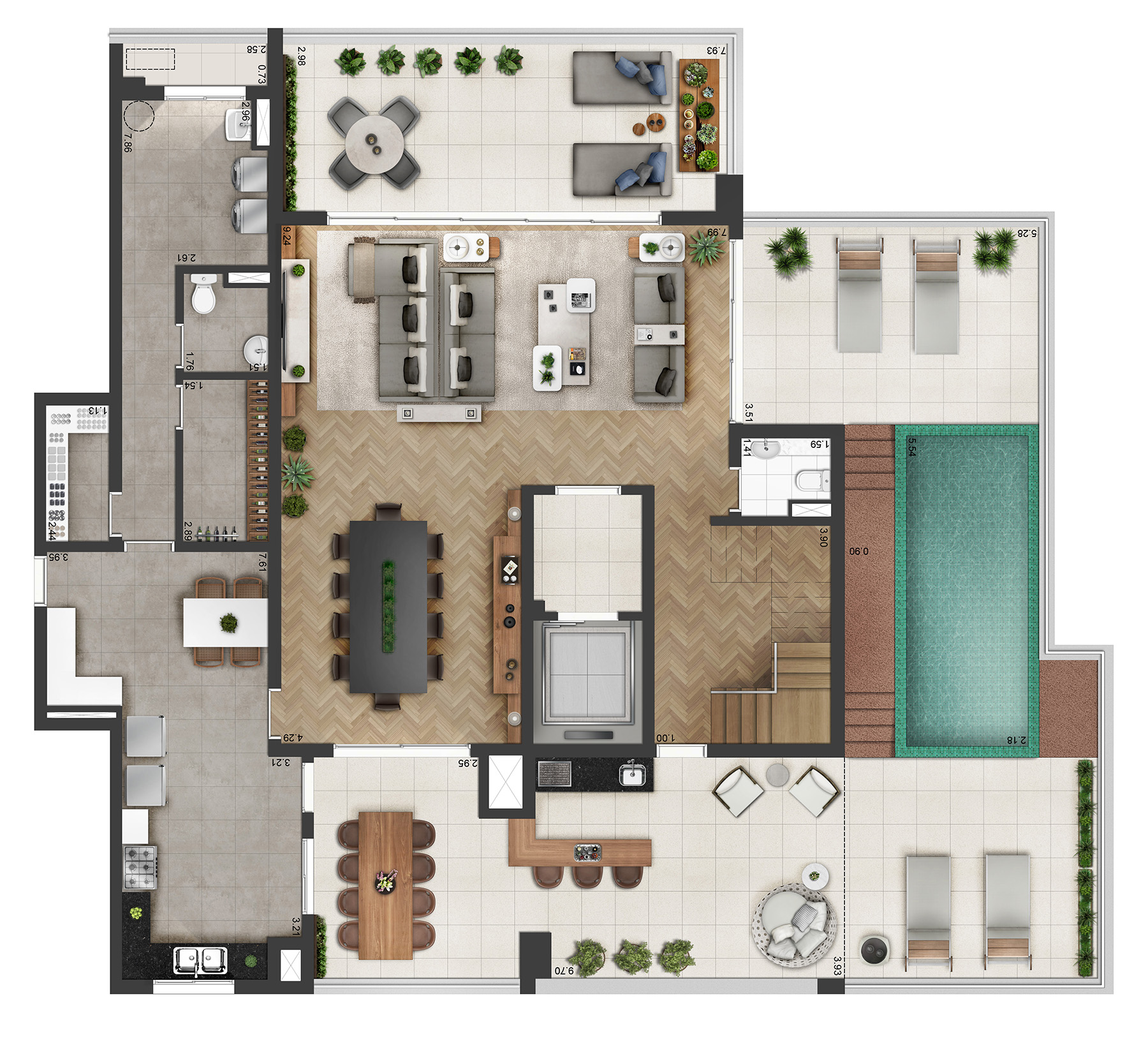 Planta Duplex 498m² Final 1 Atria Alphaville