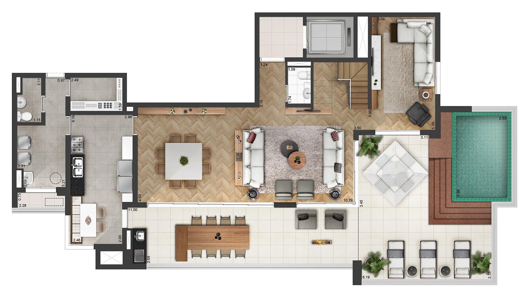 Planta Duplex 379m² Final 3 Atria Alphaville