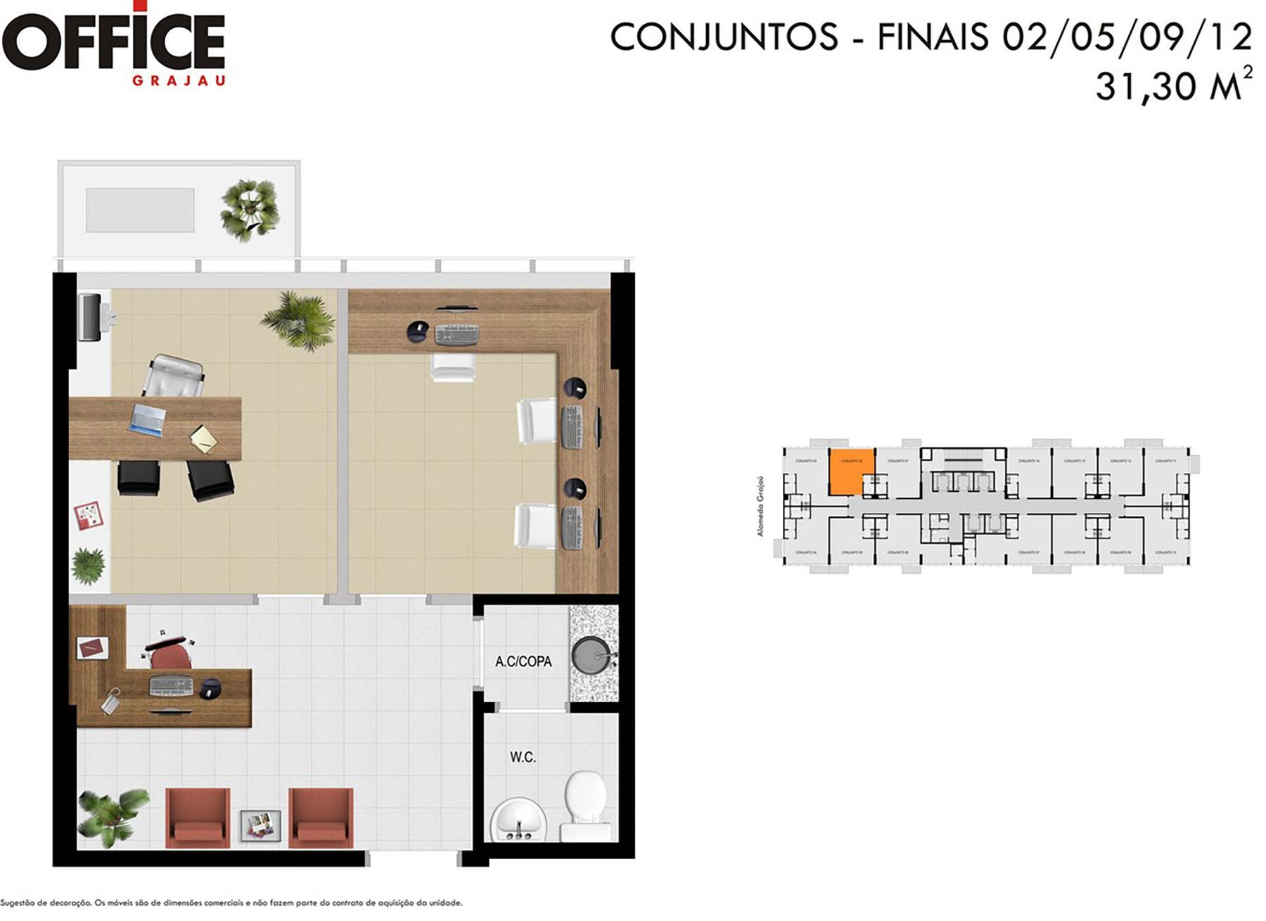 Planta 31m² Office Grajaú