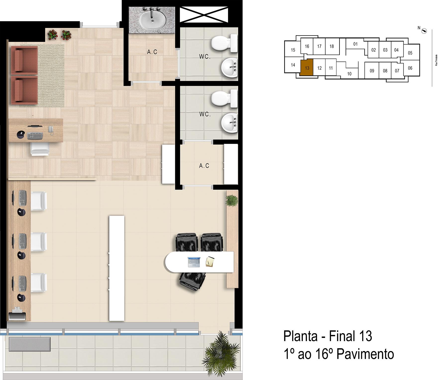 Final 13 - 1° ao 16° Pavimento Office Bethaville