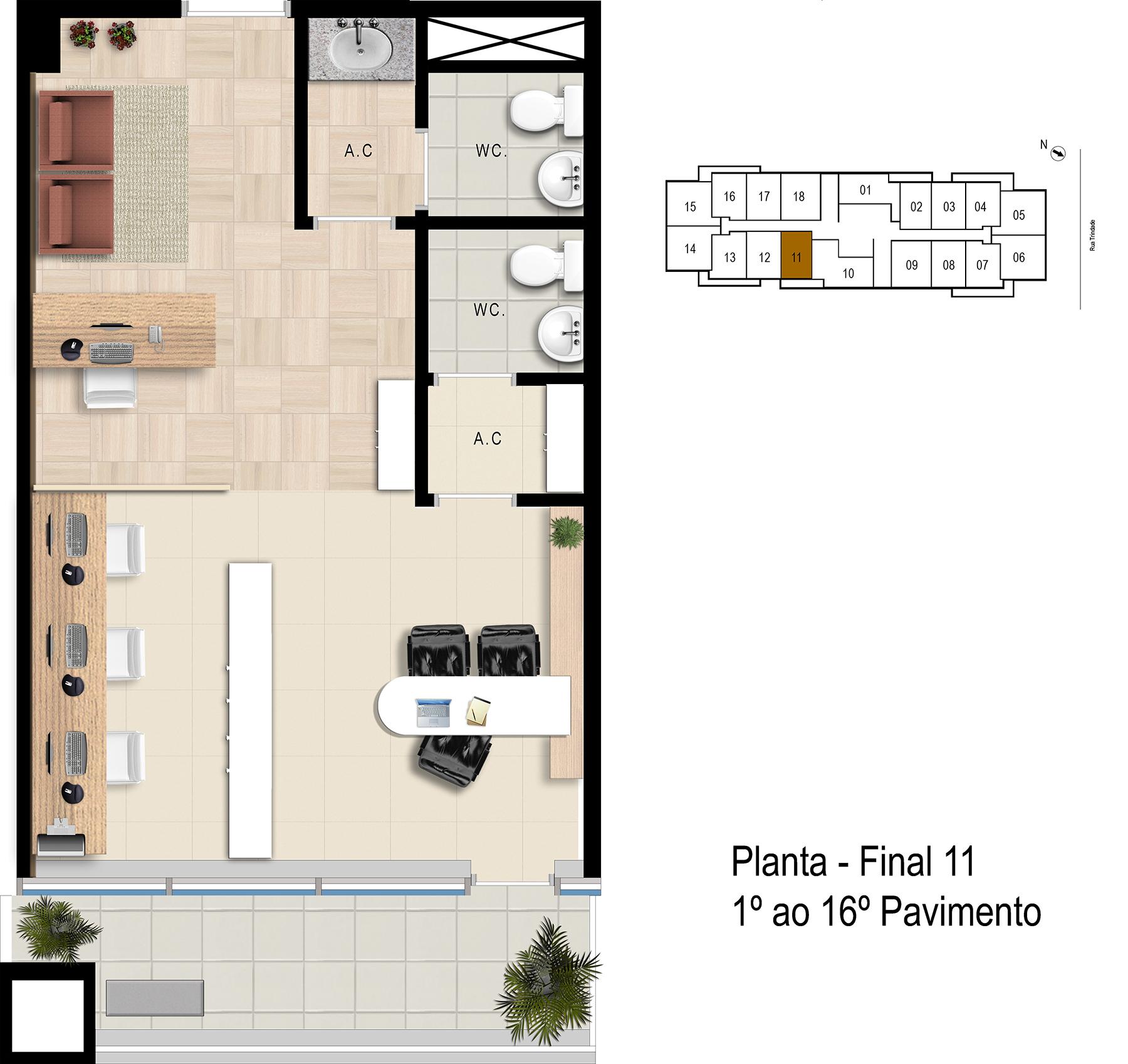 Final 11 - 1° ao 16° Pavimento Office Bethaville
