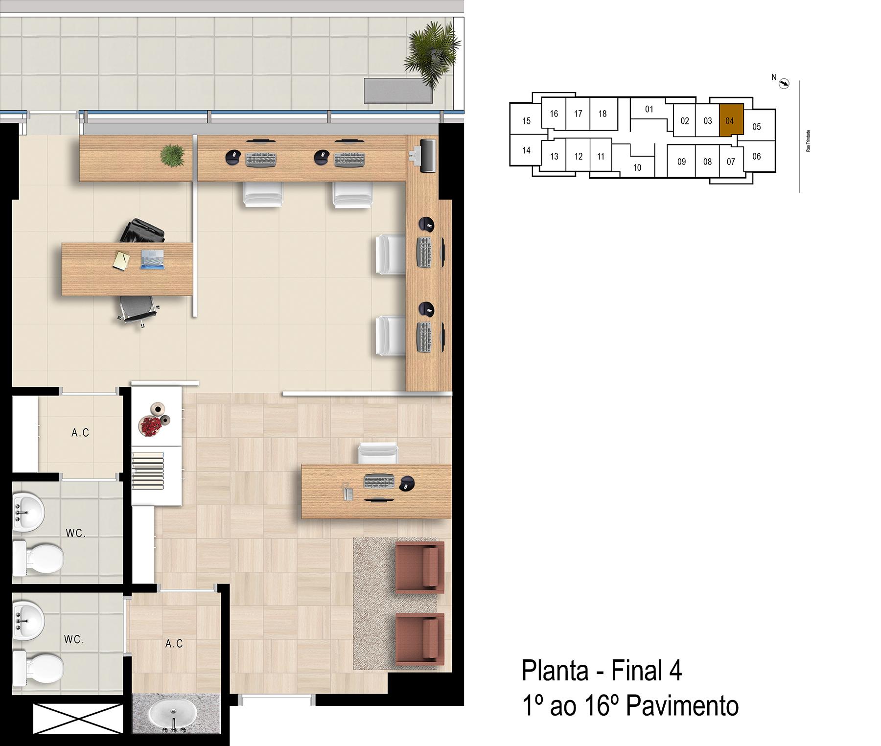 Final 4 - 1° ao 16° Pavimento Office Bethaville