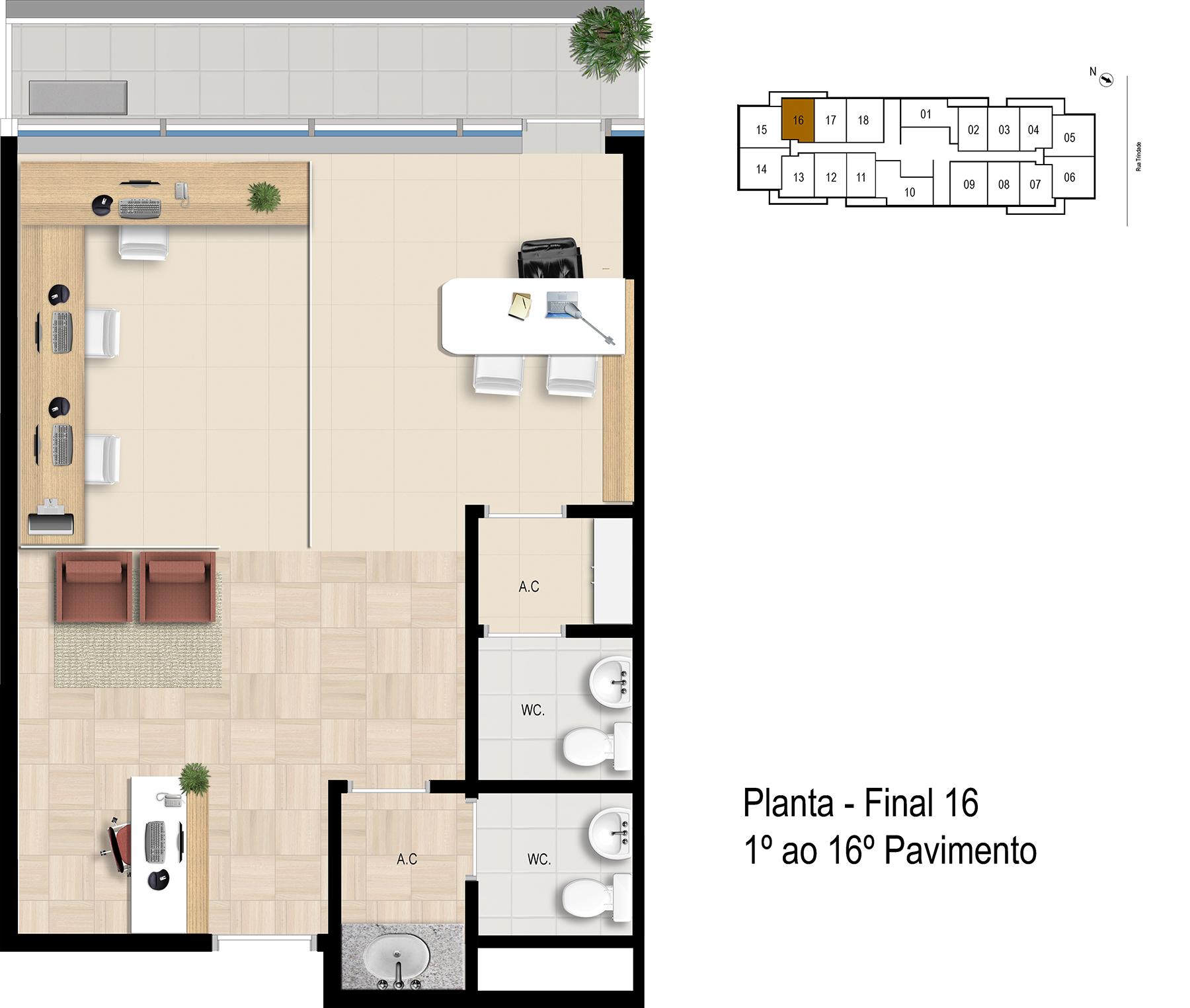 Final 16 - 1° ao 16° Pavimento Office Bethaville