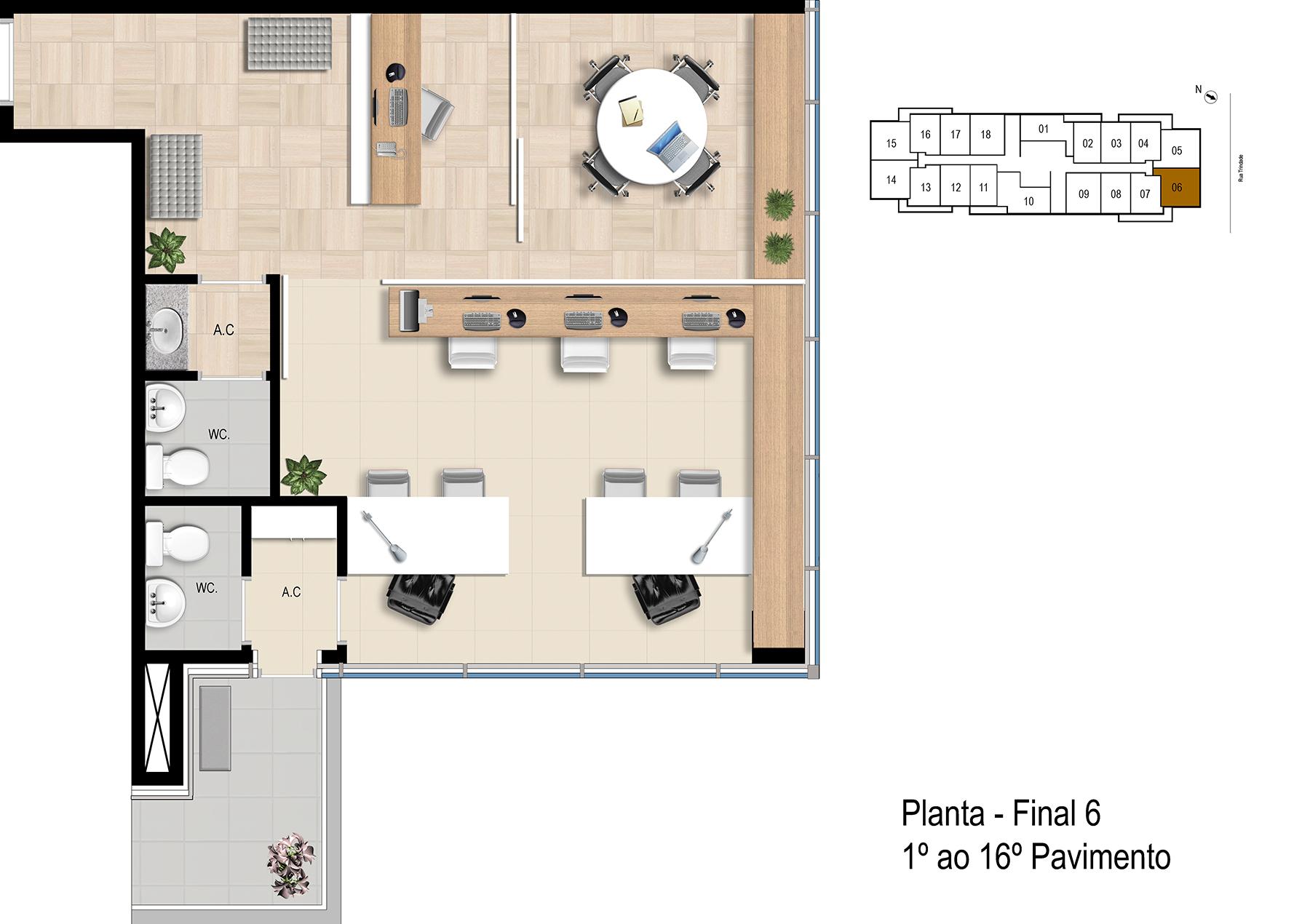 Final 6 - 1° ao 16° Pavimento Office Bethaville