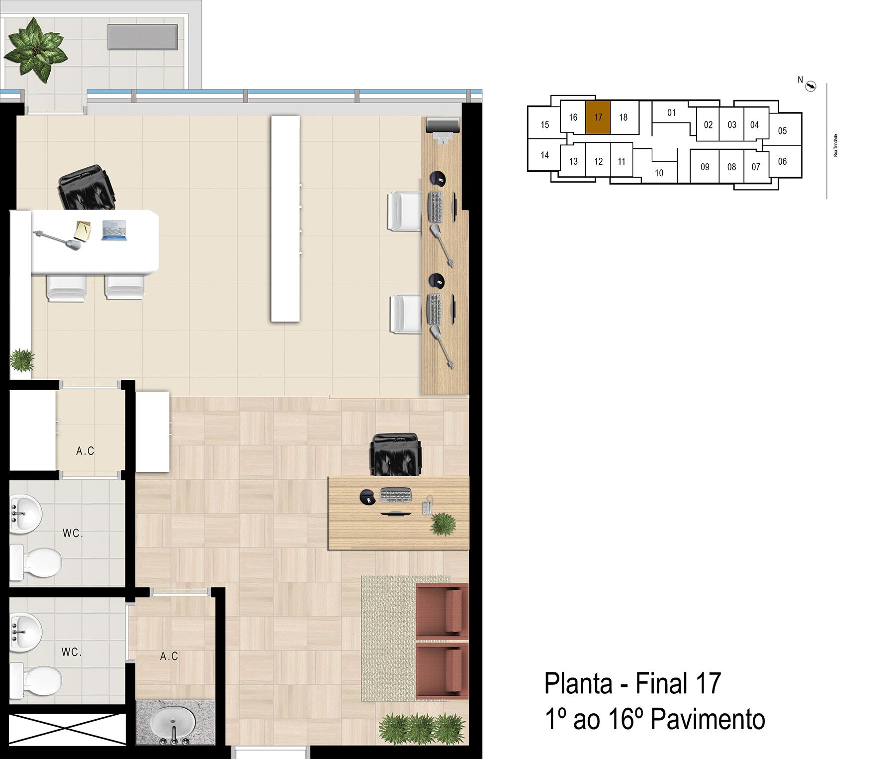 Final 17 - 1° ao 16° Pavimento Office Bethaville