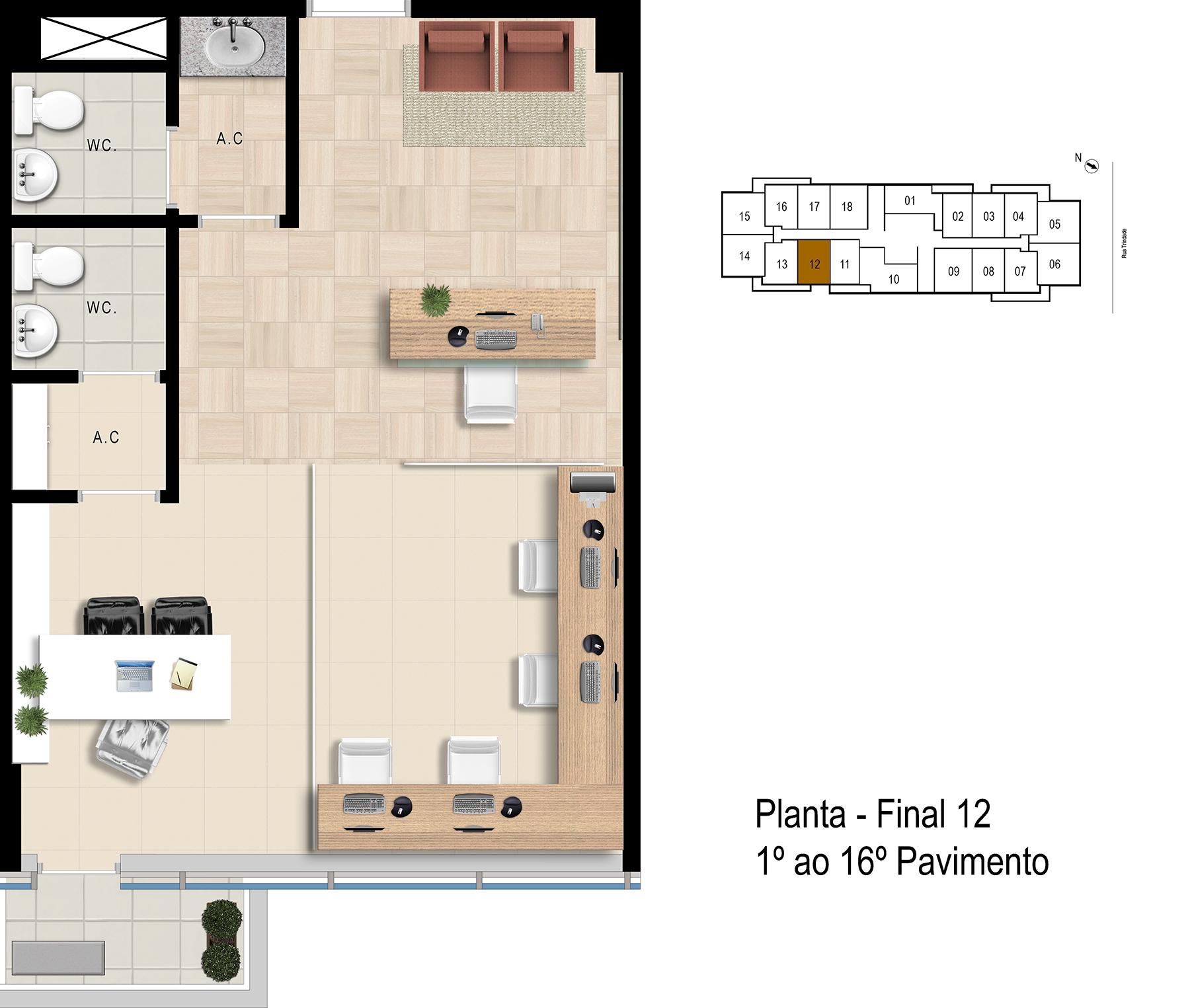 Final 12 - 1° ao 16° Pavimento Office Bethaville