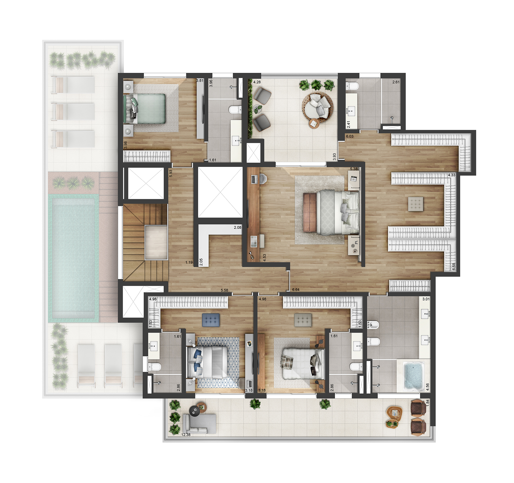 Planta Duplex 535m² Myra Alphaville