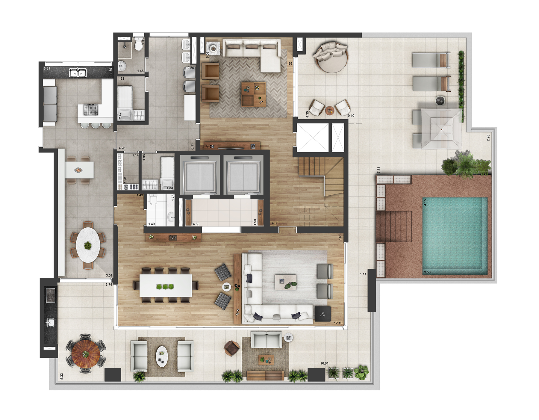 Planta Duplex 682m² Myra Alphaville