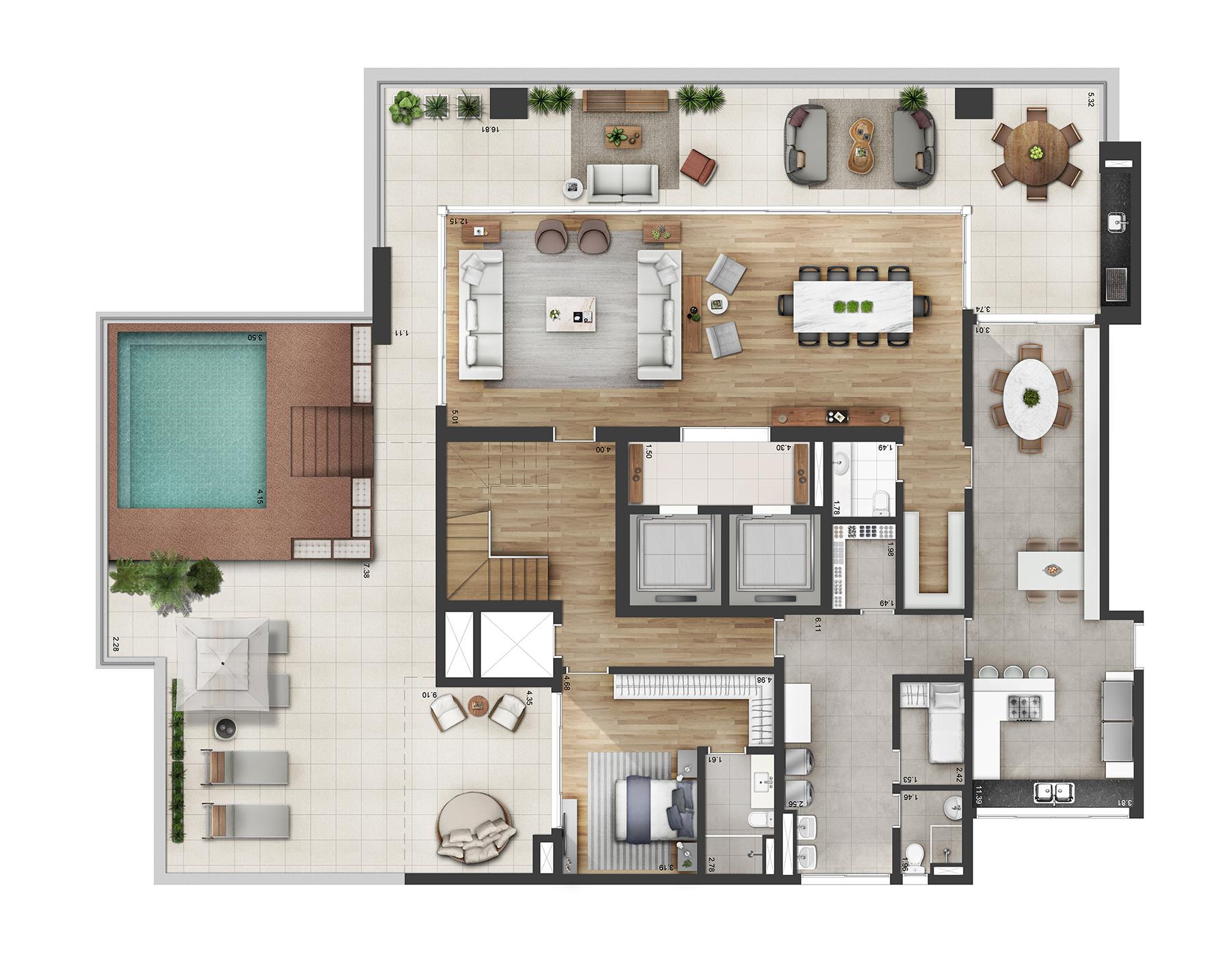 Planta Duplex 682m² Opção 2 Myra Alphaville