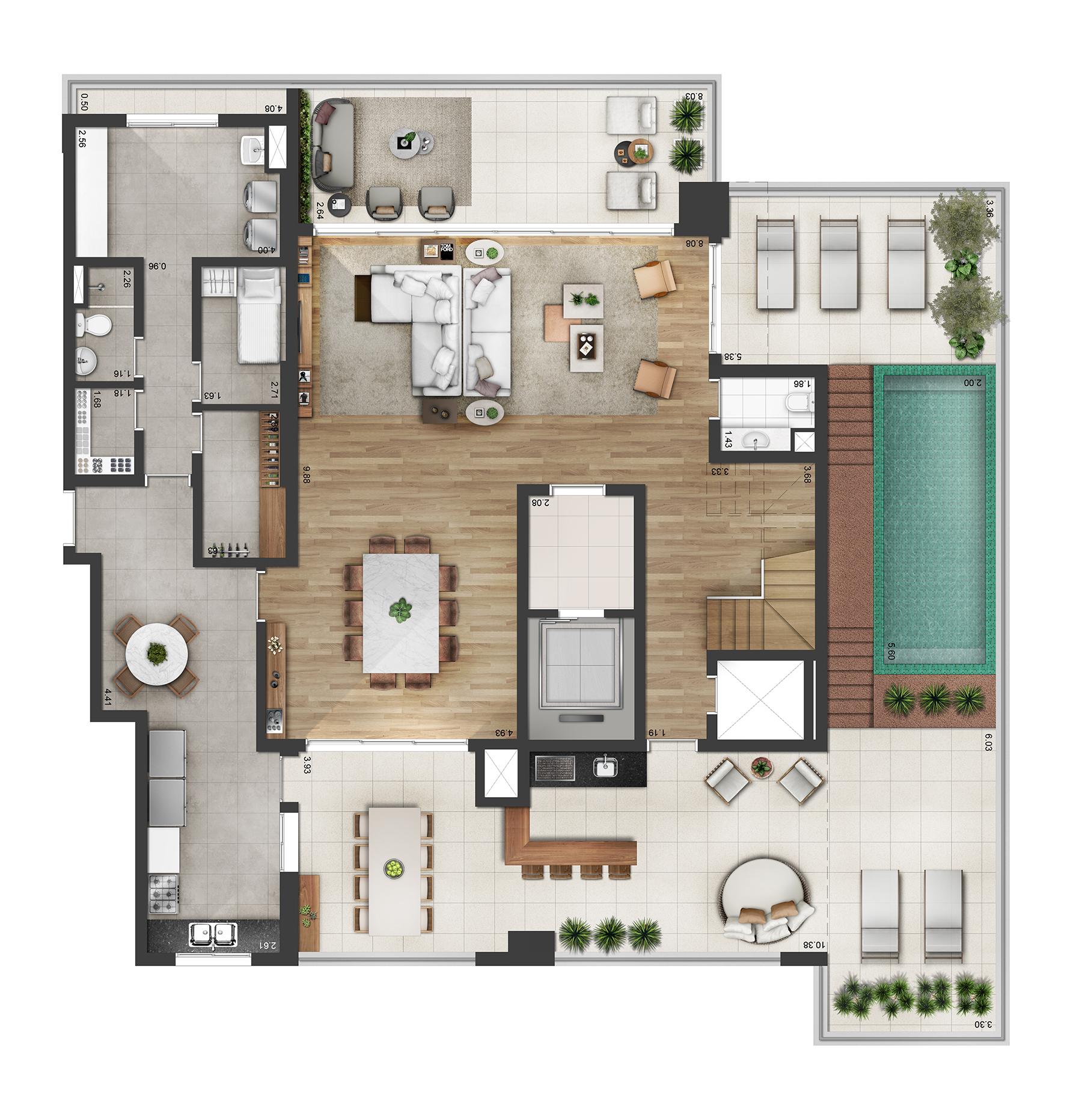 Planta Duplex 535m² Opção 2 Myra Alphaville