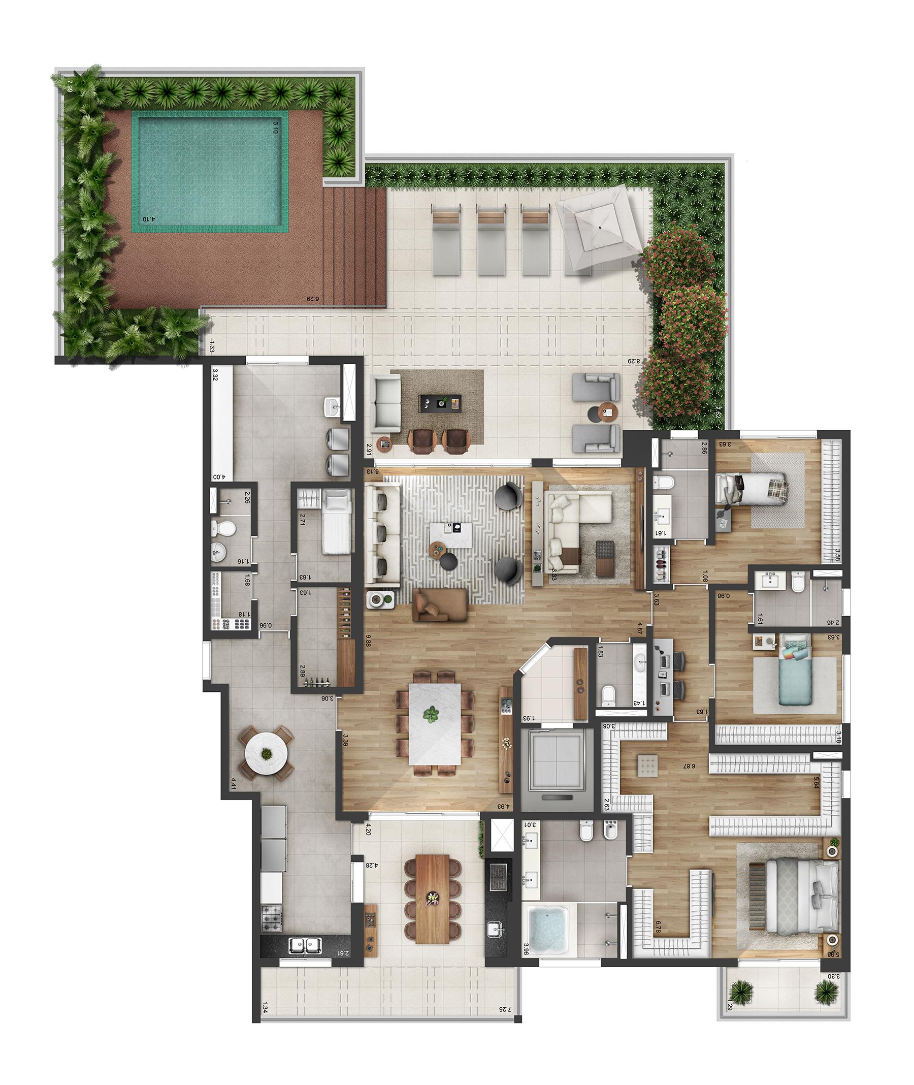 Planta 300m² Opção 2 Myra Alphaville