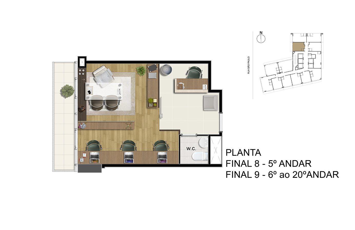 Planta - Final 8 - 5° Andar / Final 9 - 6° ao 20° Andar Manhattan Office Santos