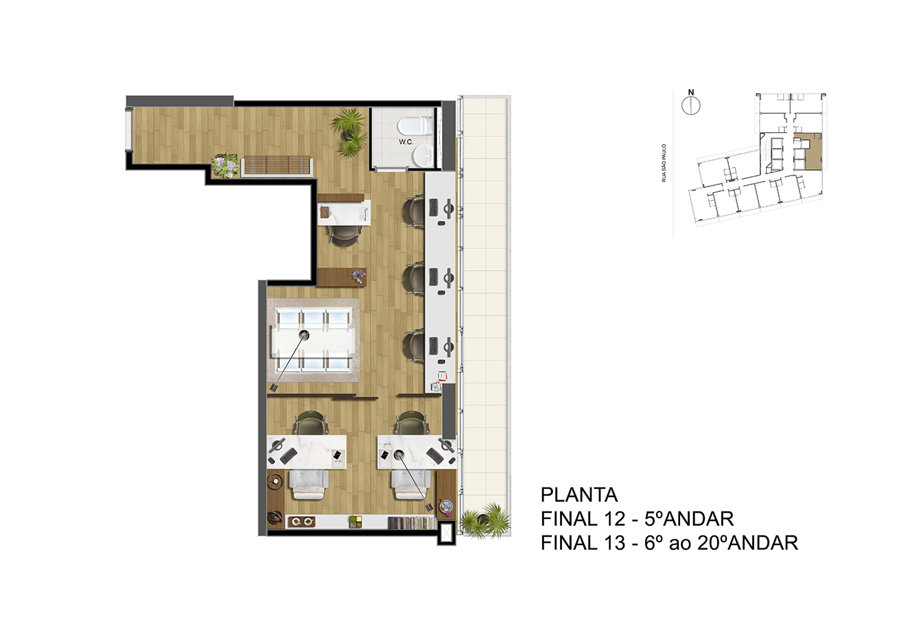 Planta - Final 12 - 5° Andar / Final 13 - 6° ao 20° Andar Manhattan Office Santos