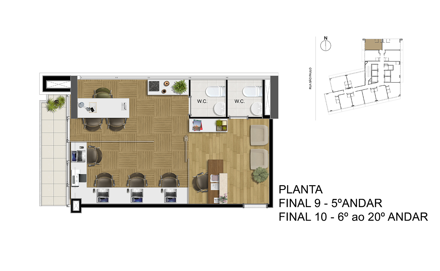 Planta - Final 9 - 5° Andar / Final 10 - 6° ao 20° Andar Manhattan Office Santos