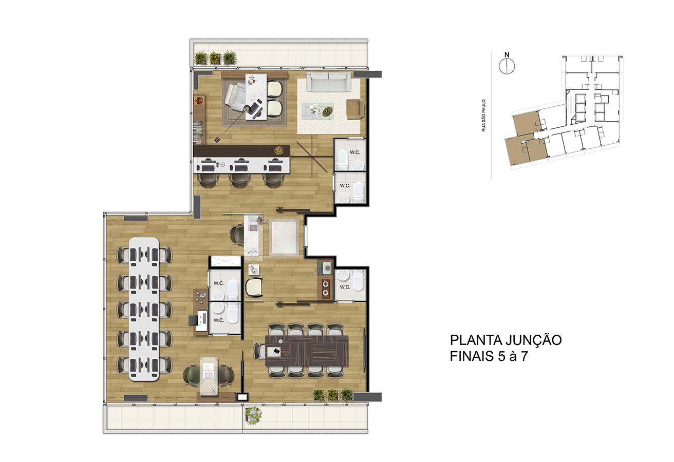 Planta Junção - Finais 5 á 7 Manhattan Office Santos