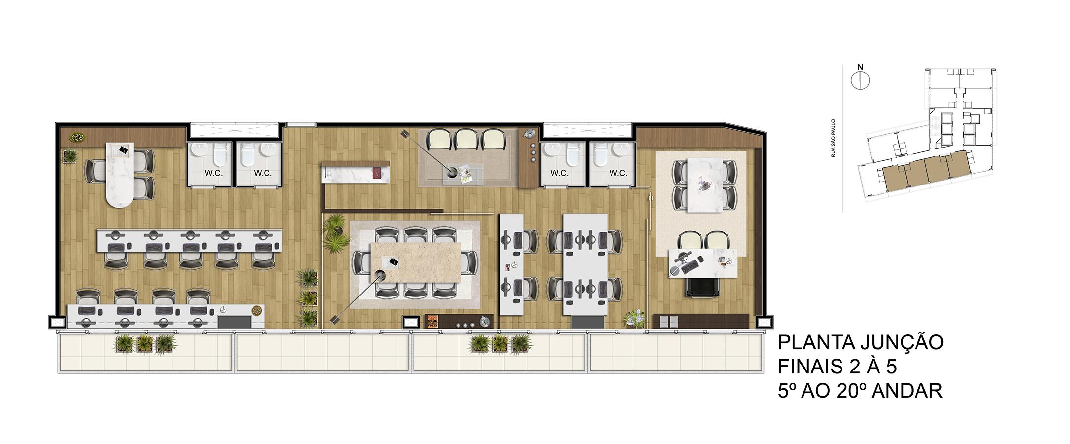 Planta Junção - Finais 2 á 5 - 5° ao 20° Andar Manhattan Office Santos