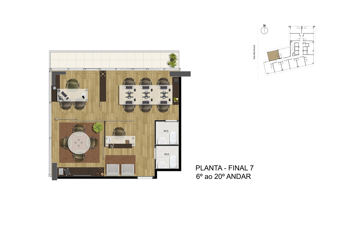 Planta - Final 7 - 6° ao 20° Andar Manhattan Office Santos