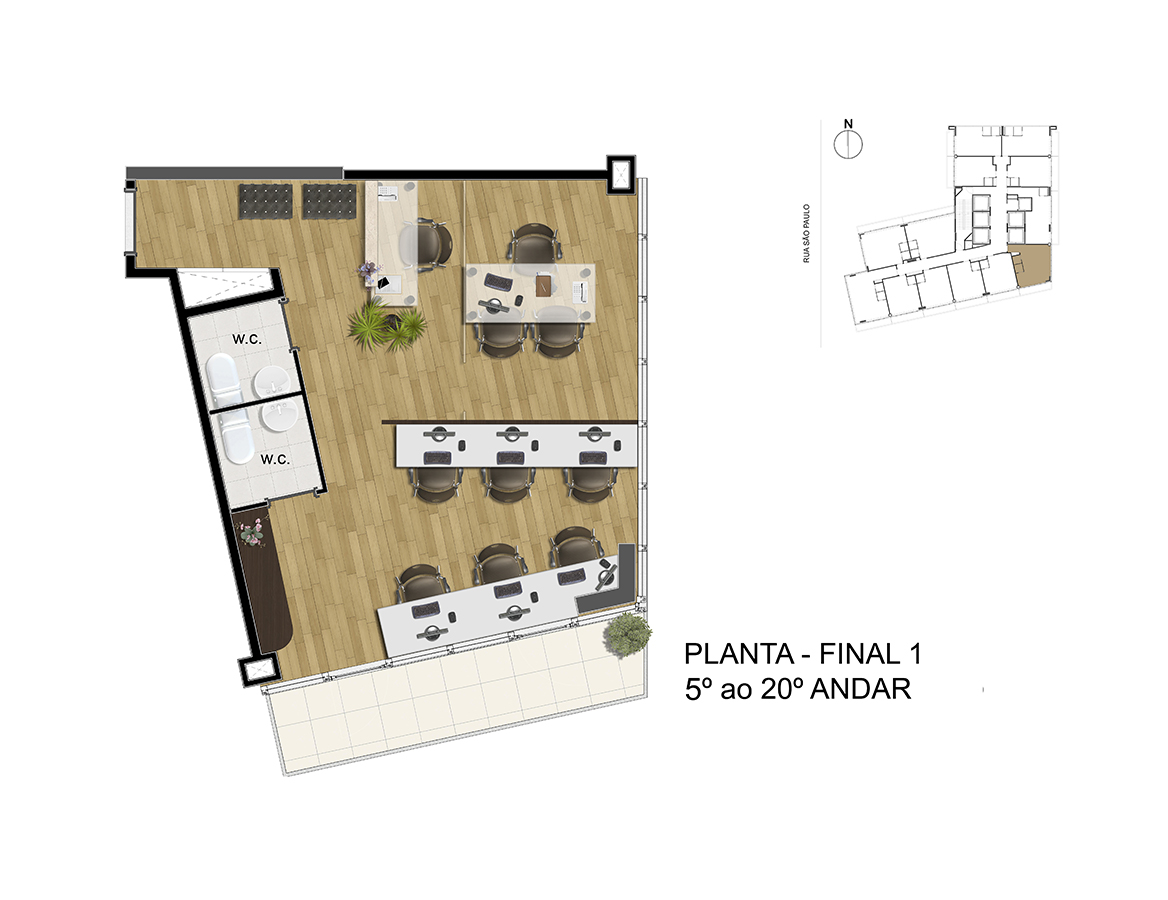 Planta - Final 1 - 5° ao 20° Andar Manhattan Office Santos