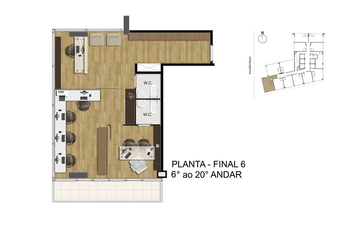 Planta - Final 6 - 6° ao 20° Andar Manhattan Office Santos