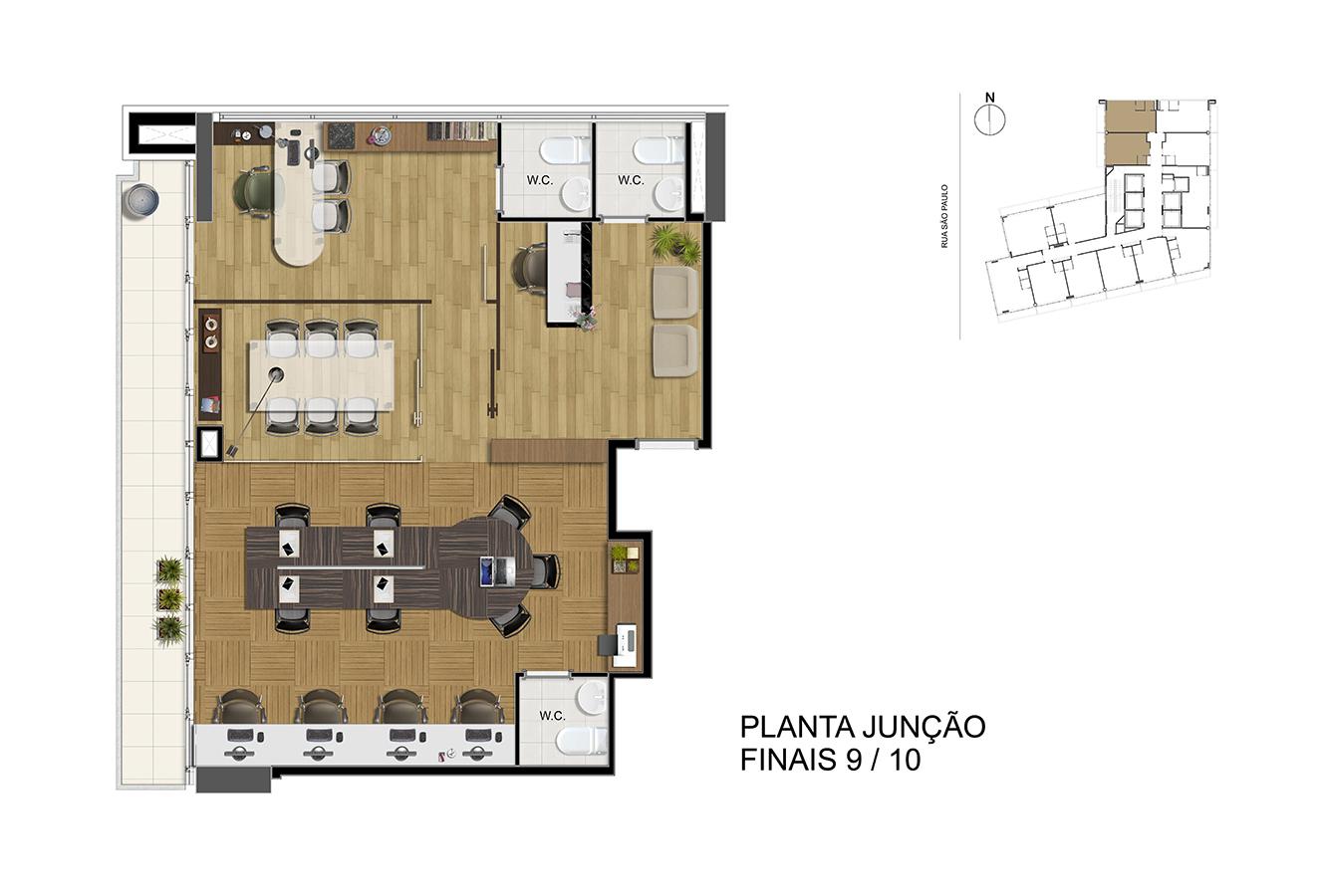 Planta Junção - Finais 9/10 Manhattan Office Santos