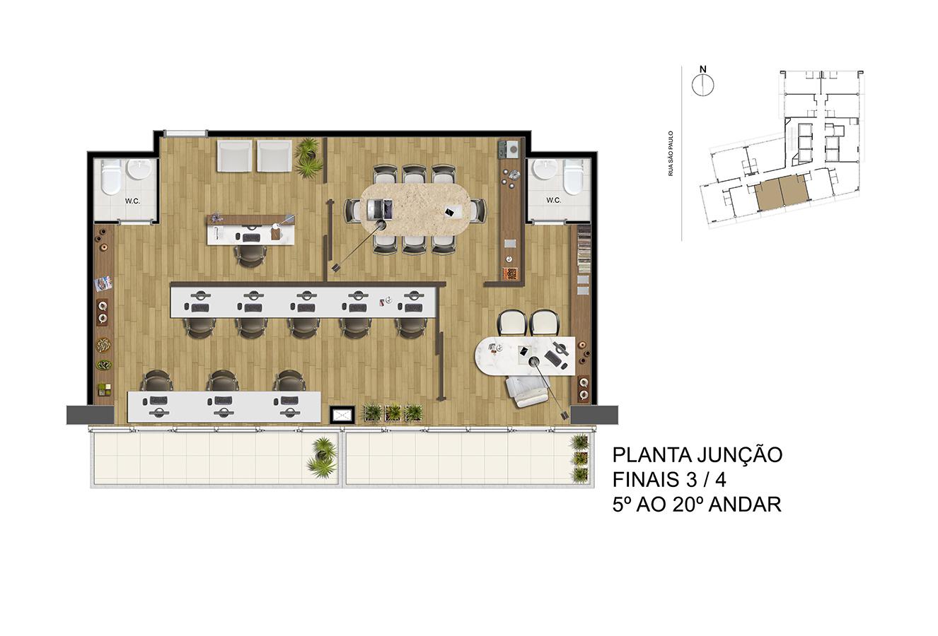 Planta Junção - Finais 3 / 4 - 5° ao 20° Andar Manhattan Office Santos