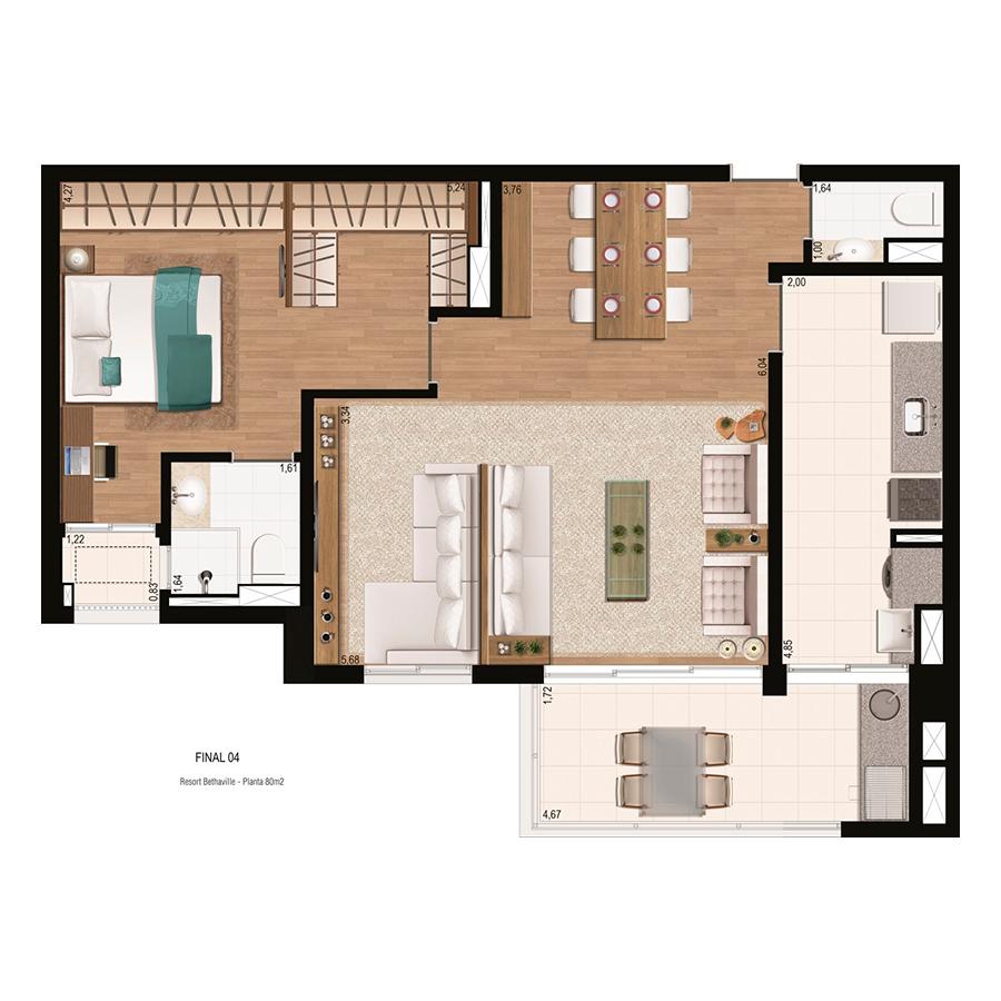 Planta 80m² - 1 Dorm Resort Bethaville