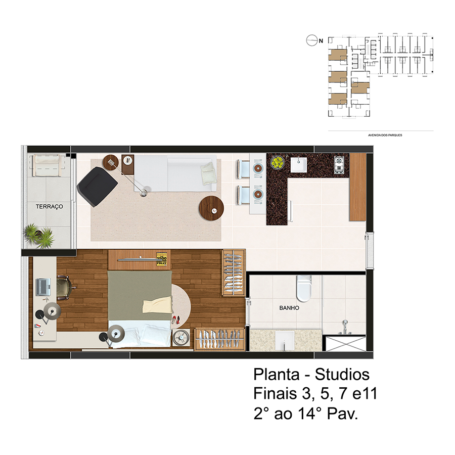 Planta - Studios - Finais 3, 5 e 7 - 2° ao 14° Pav Link Studios & Offices