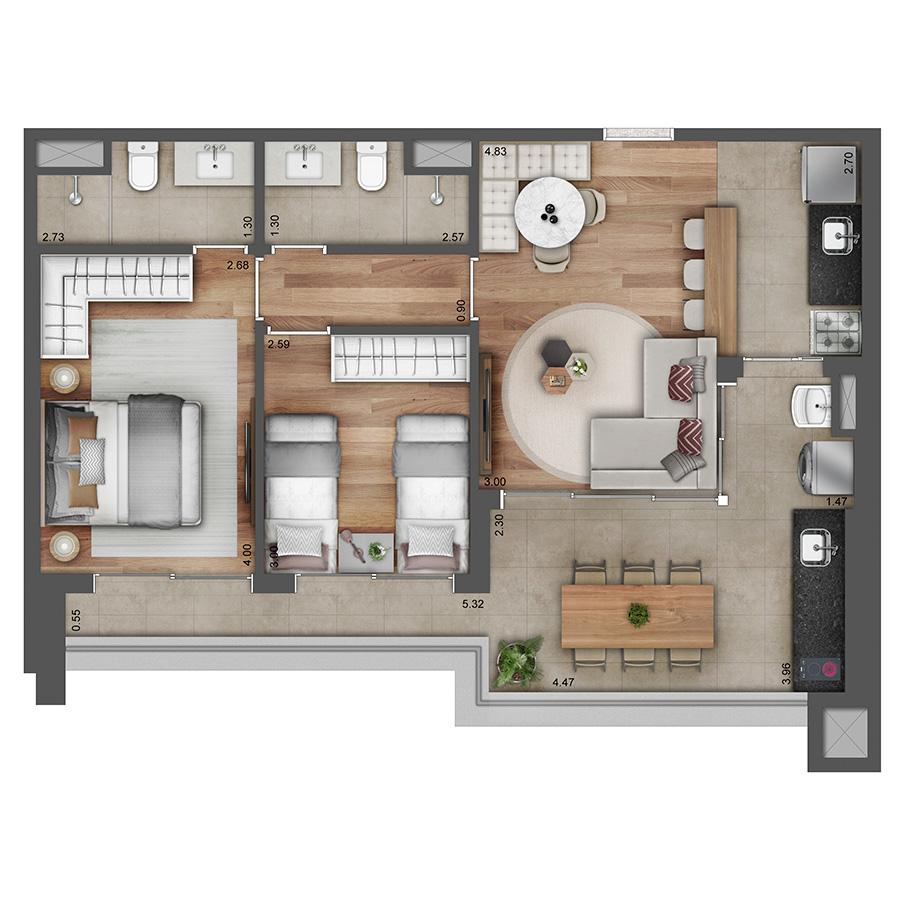 Apto Tipo 71 m² - Opção 1 Verve