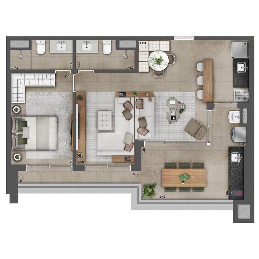 Apto Tipo 71 m² - Opção 2 Verve