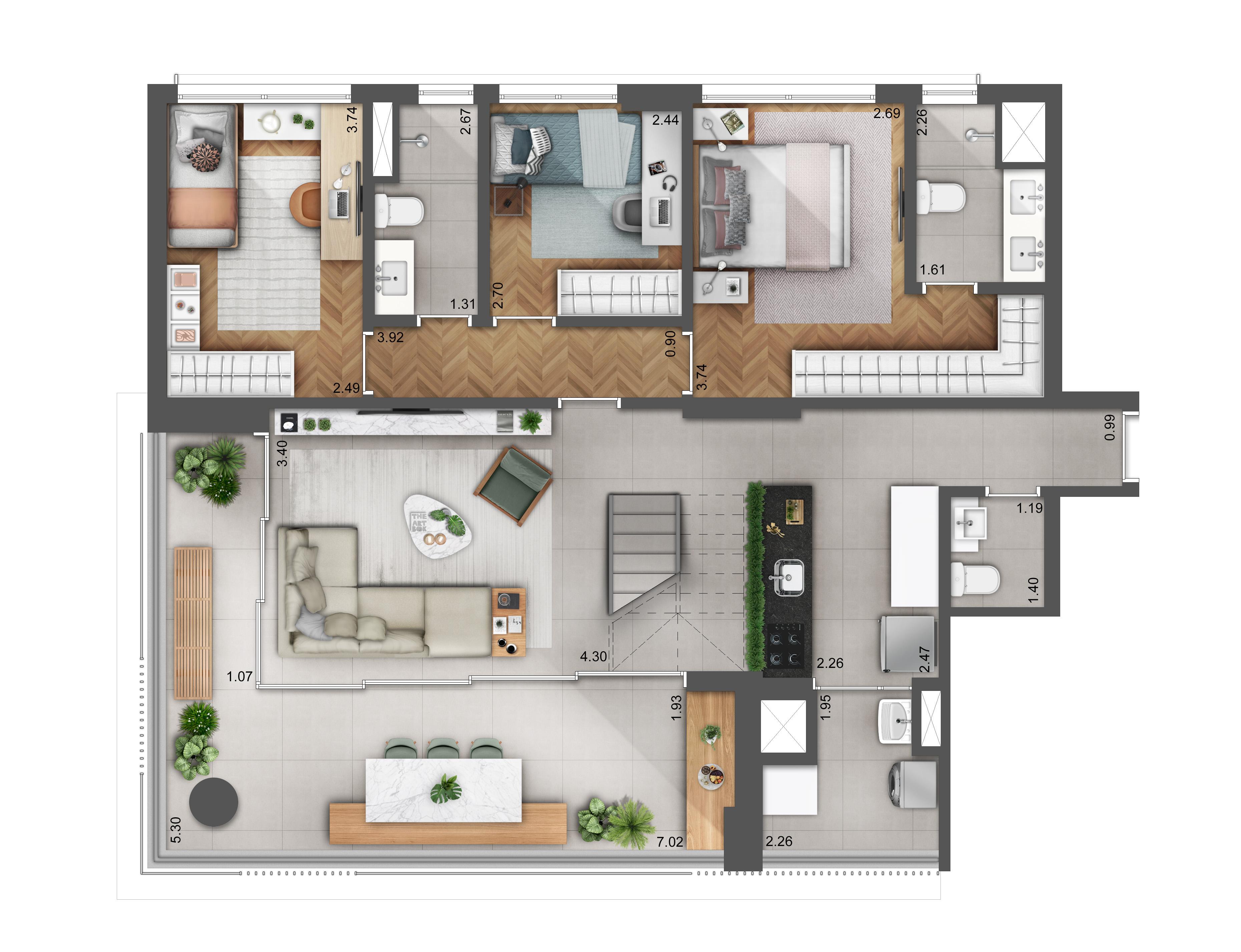 Duplex 202m² - Pavimento Inferior Hera Perdizes
