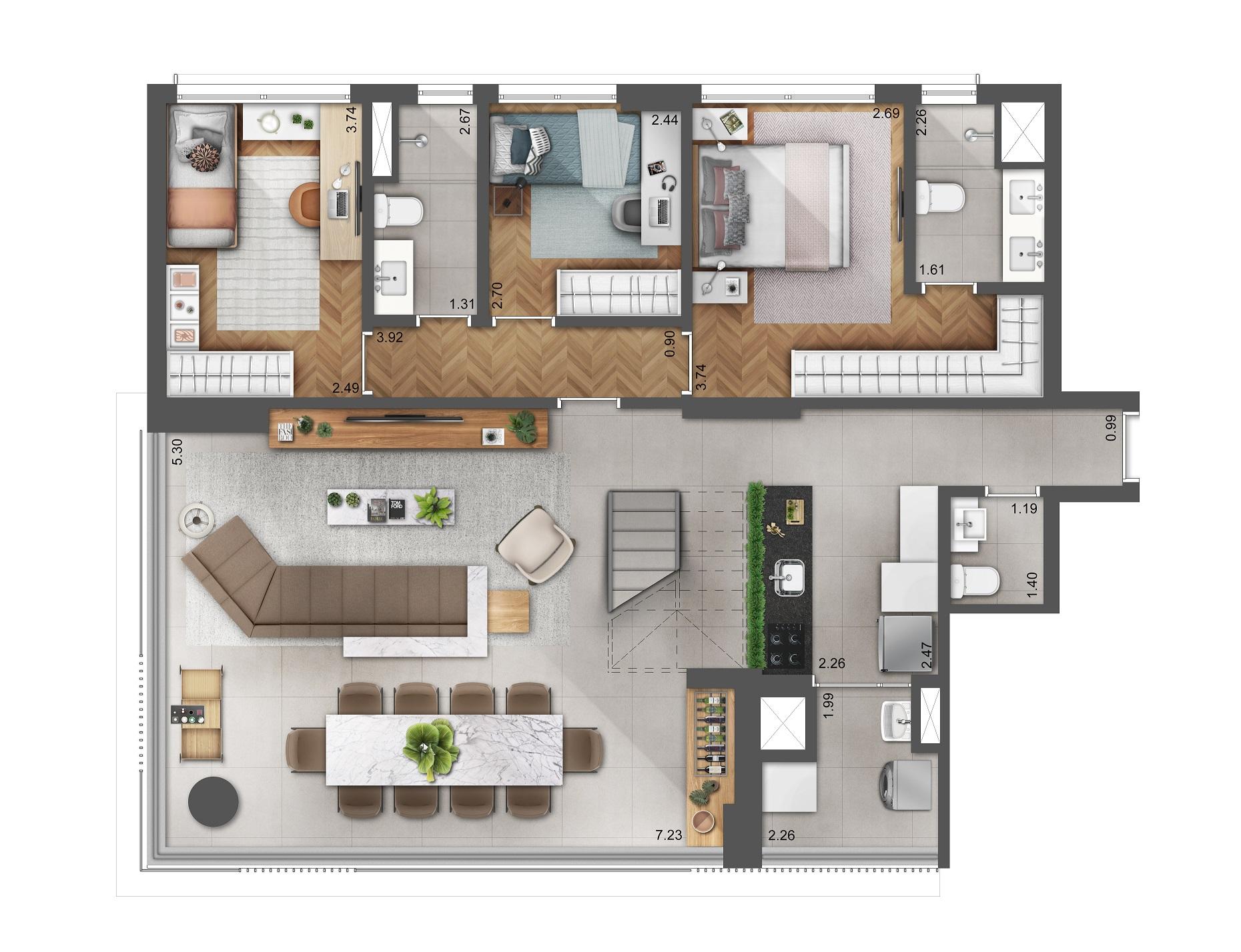 Duplex 202m² - Pavimento Inferior (Living Ampliado)  Hera Perdizes