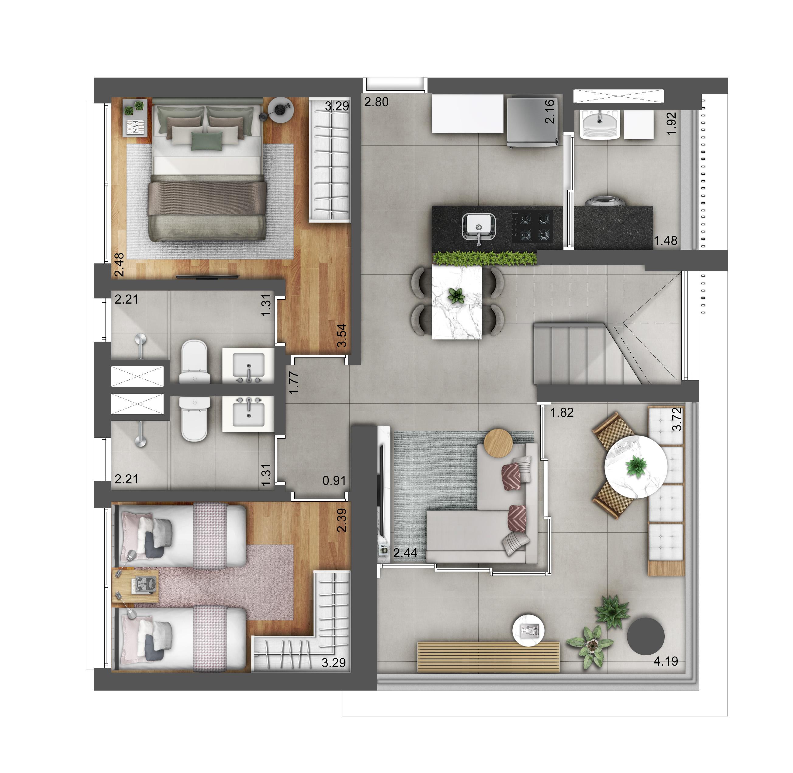 Duplex 125m² - Pavimento Inferior Hera Perdizes