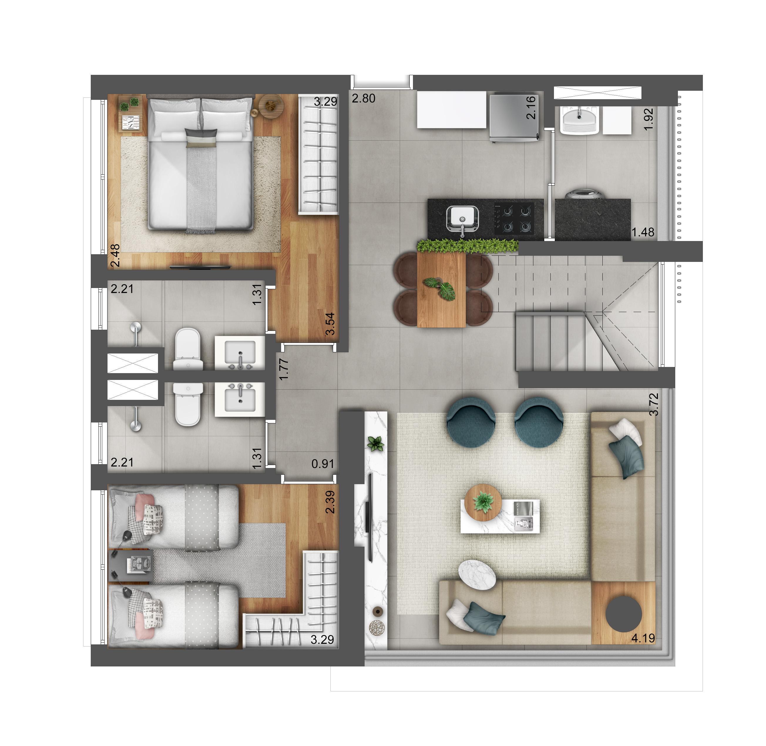 Duplex 125m² - Pavimento Inferior (Living Ampliado) Hera Perdizes