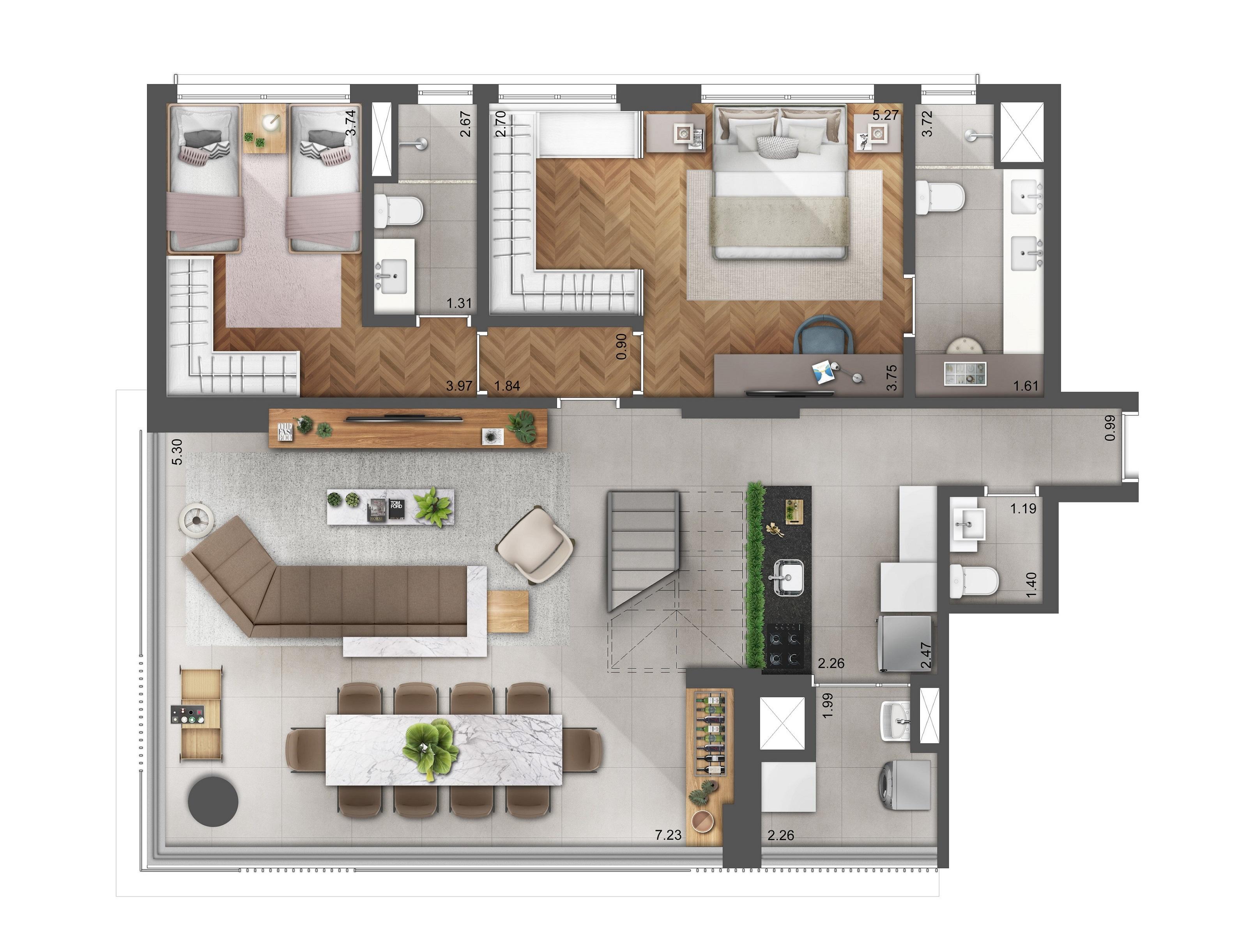 Duplex 202m² - Pavimento Inferior (Living Ampliado e Suíte Master) Hera Perdizes